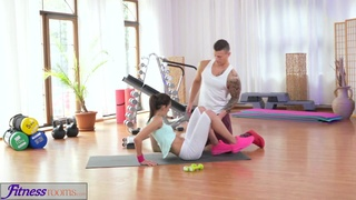Fit and tight brunette teen fucks her trainer´s big tool