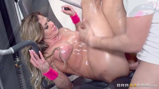 Oiled up fitness porn model Nina Dolci fucked by monster dick