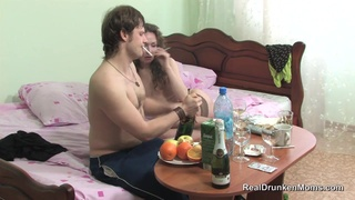 Brunette Russian mom with small tits and skinny body got cock