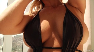 Hot blonde babe with nice titties enjoys interracial anal