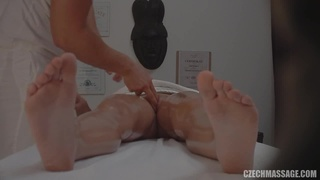 Voyeur video with amateur blonde getting rammed during massage