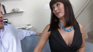 Randy brunette mom with big silicone boobies fucks for mouthful