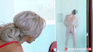 Big tits mom Nina Elle fucked in the shower by younger boy