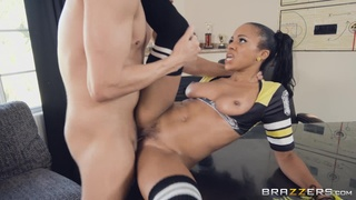A big white cock for hussy ebony cheerleader in high socks and short skirt