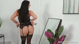 Busty Angela White works her way out of black lingerie for hot sex