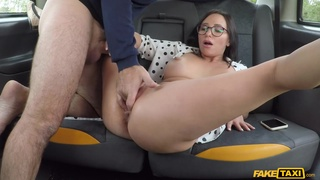 Hot MILF gets intimate on the back seat on her way to work