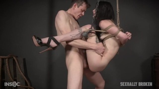 Skinny sex slave in his dungeon moans as she gets fucked