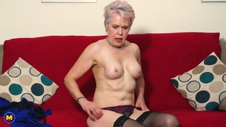 Granny masturbates her old pussy and plays with her perky tits