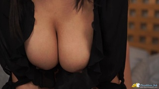 Big tits black girl in bed lets you jerk off to her breasts