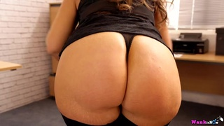 Wicked voluptuous secretary babe strips and gives JOI