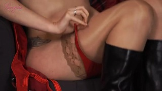 Boots and beautiful red lingerie on a sexy blonde chick