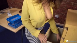 Unbuttoned blouse babes shows her braless tits