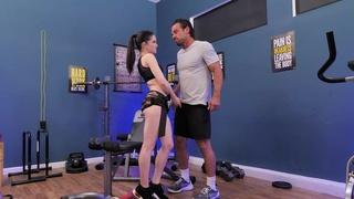 Hardcore fucking in the gym ends with cum on pussy for Jenna J Ross