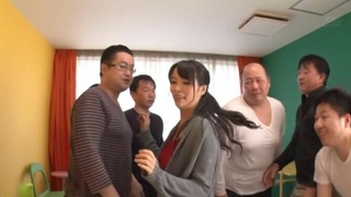Passionate fucking between lot of dudes and sexy Maki Kyouko