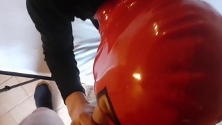 Dirty amateur girlfriend wears a red mask while giving deepthroat