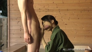 Skinny dude with a stiff dick gets a blowjob from his neighbor