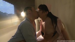 Wild fucking on the hospital bed with a large ass Japanese nurse
