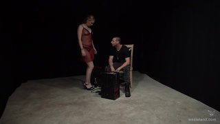 Amateur blonde babe spreads her legs to be poked during torture session