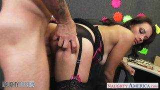 Sexy babe Kayla West gives a wonderful blowjob to her co-worker and he fucks her on the table