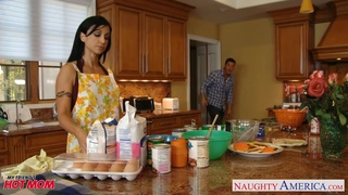 Cooking with friend's mommy ends with hardcore anal sex right on the table