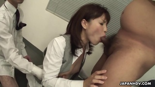 Amateur Asian secretary is fucked by boss and two colleagues
