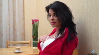 Single woman Milena is masturbating wet pussy in the kitchen