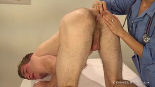 Young female urologist gives an epic prostate massage to one guy