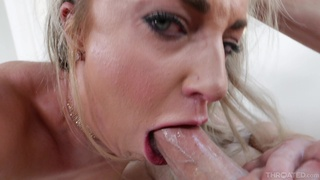 Blond bitch Kate Kennedy is face fucked by horny dude with a huge cock