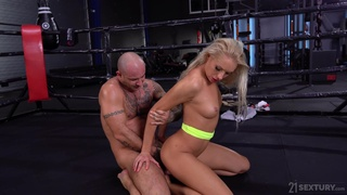 Fitness blonde Angelika Grays gives a rimjob to her boxing coach and gets her anus holed