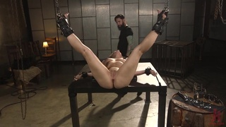 Tattooed pervert fucks tied up Lisey Sweet in stretched anal hole