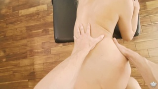Skinny blonde with small tits Khloe Kapri gets her pussy fucked on the massage table