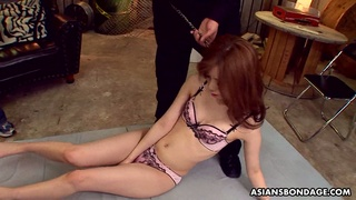 Kinky dudes finger fuck and toy Asian pussy of tied up chick Karin Yazawa