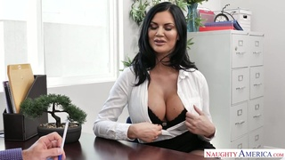 Jaw dropping seductress Jasmine Jae is fucked hard by hot blooded boss