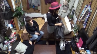 Passionate quickie on the sofa with a cute Japanese neighbor