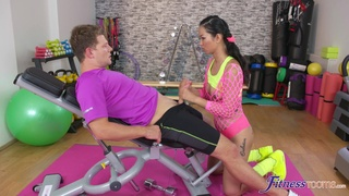 Deep pussy and ass fucking in the gym with Asian slut Jureka Del Mar