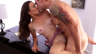 Passionate fucking ends with a facial for beautiful Sandy Sweet