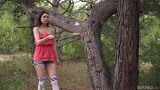 Small tits brunette Cinderella drops her clothes in local woods