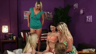 Handsome model Chessie Kay teases a man with her best friends