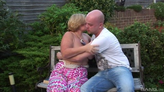 Outdoors video of a stud fucking chubby mature slut Lacey Starr