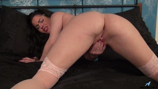 Solo cougar Crystall Anne takes off her lingerie to masturbate
