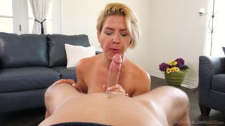 Short hair MILF Kit Mercer works out and gives a sloppy blowjob