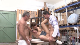 Older dudes team up to fuck mouth and pussy of an amateur girl
