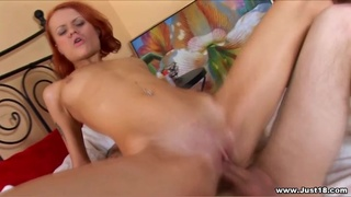Redhead cutie Kerry moans during passionate butt penetrating