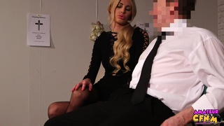Sexy blonde babe Mandy Slim takes a giant dick in her mouth