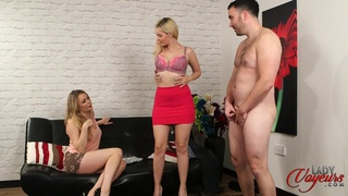 Provocative Dolly Diamond and Penny Lee strip to make him harder