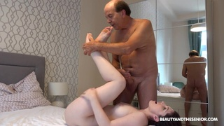 Old dude with a stiff dick fucks wet pink taco of Mia Evans