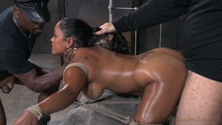 Busty pornstar Maxine X gets tied up and fucked by two dudes