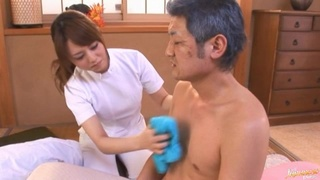 Lucky man gets his dick stroked and sucked by sexy Akiho Yoshizawa