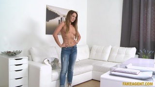 Fucking during casting ends with cum on ass for sexy Angella