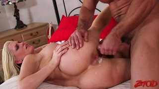 Fucking in the bedroom ends with cum on pussy for Alena Croft